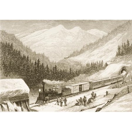 Posterazzi DPI1839468LARGE Steam Train Carrying US Mail Across Sierra Nevada In 1870S From American Pictures Drawn with Pen & Pencil by Rev Samuel Poster Print, Large - 36 x -