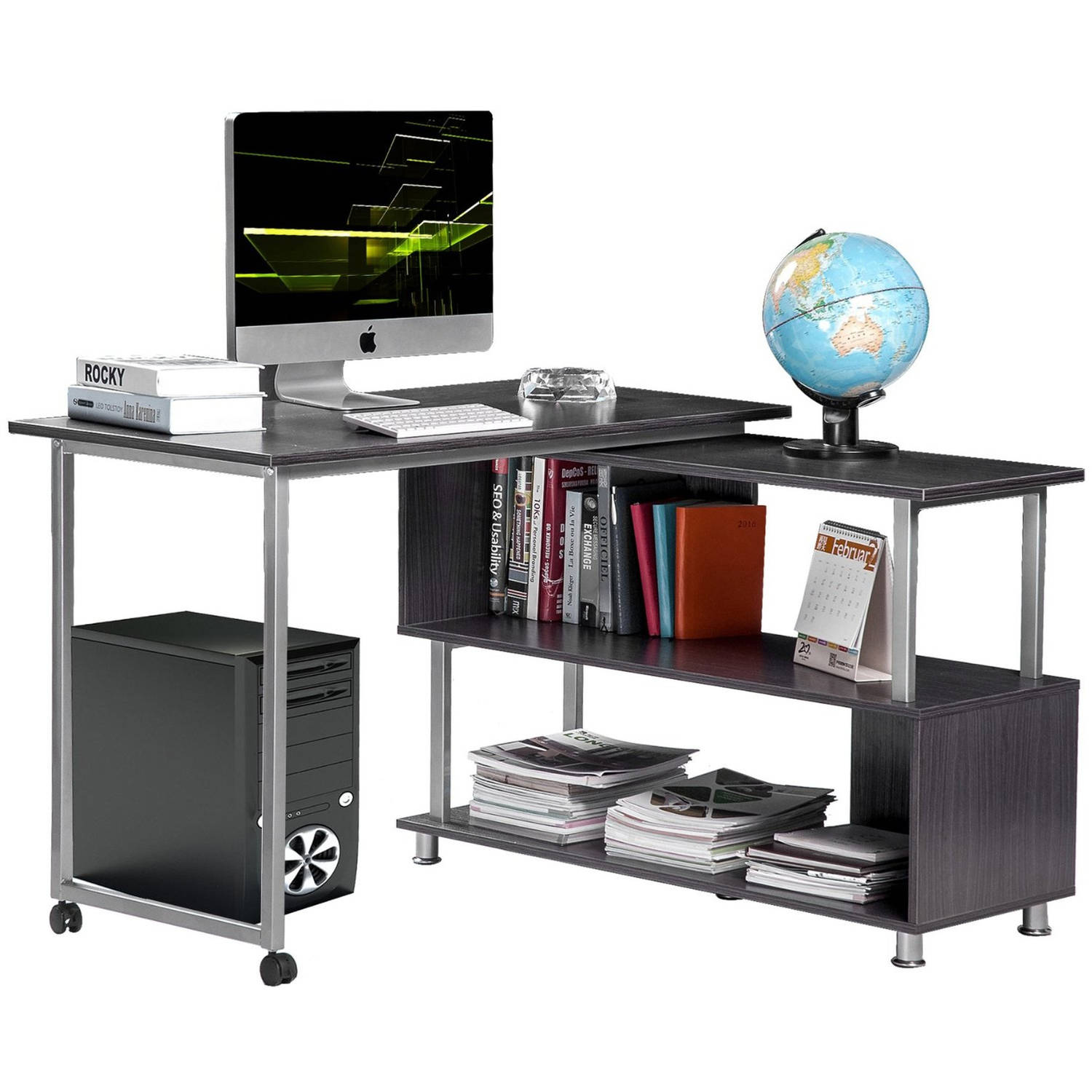 Rotatable L-shaped Computer Desk Convertible Office Corner Desk with Wheels, Gray