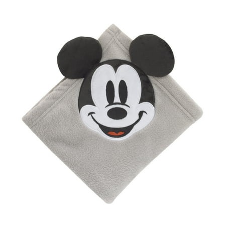 Disney Mickey Mouse Super Soft Corner Applique Baby Blanket with 3D Ears, Grey Black &