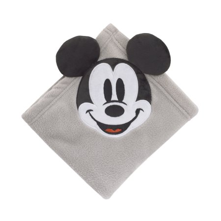 Disney Mickey Mouse Super Soft Corner Applique Baby Blanket with 3D Ears, Grey Black & White](Mickey Mouse Baby)
