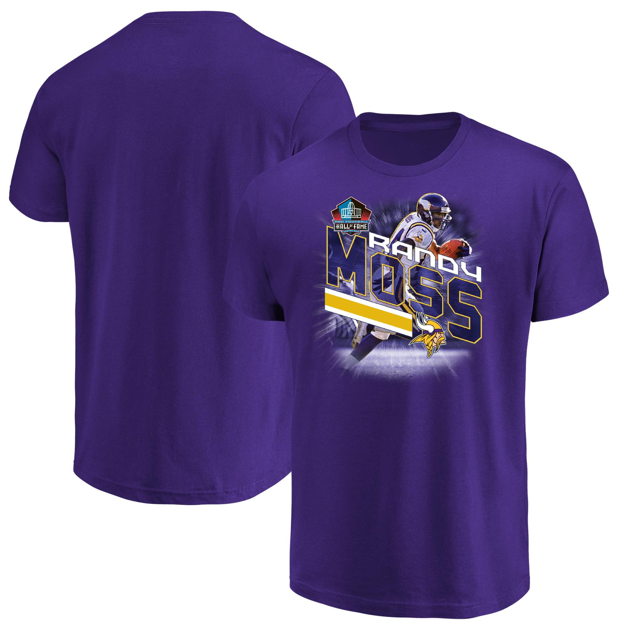 Randy Moss Minnesota Vikings Majestic NFL Hall of Fame Inductee Player Illustration T-Shirt - Purple