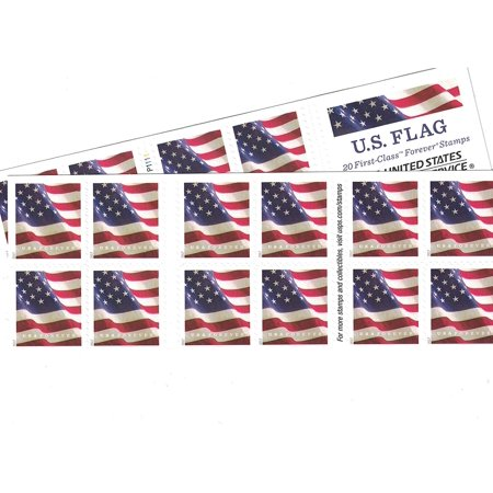 Flag Mnh Stamps (US Flag Forever Stamps - 40 Stamps (two books of 20), U.S. Flag USPS Forever Stamps - 2016, 2017, or 2018 Release By USPS )