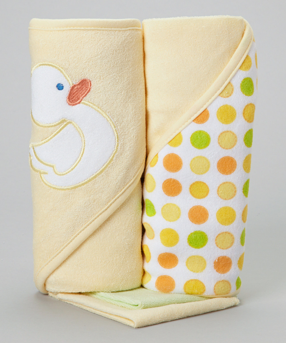 Spasilk 2 Hooded Towel 2 Washcloths Set Yellow Duck