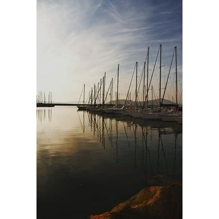 Canvas Print Marina Ocean Yachts Boats Port Calm Sea Water Stretched Canvas 10 x 14