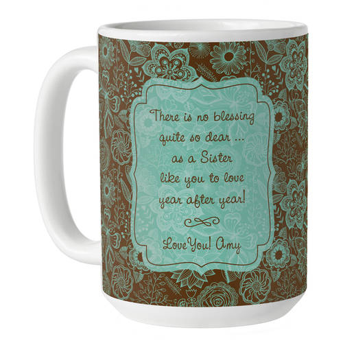 Personalized Blessing 15 oz Coffee Mug, Available in Pink or Teal