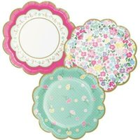 1PK Floral Tea Party Scalloped 7-inch Plates Assorted Designs