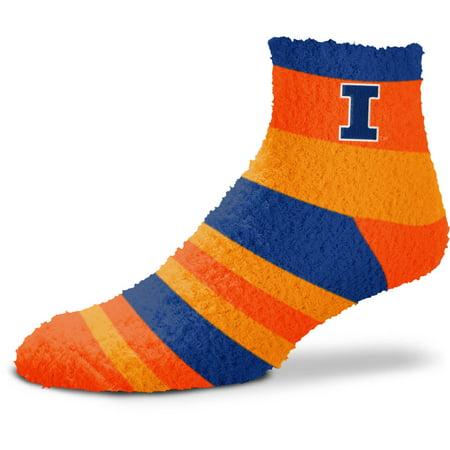 Illinois Fighting Illini For Bare Feet Women's Rainbow Fuzzy Quarter-Length Socks - No Size Illinois Fighting Illini Swivel