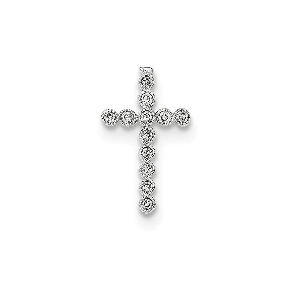 14k White Gold Polished Diamond Cross Chain Slide Pendant