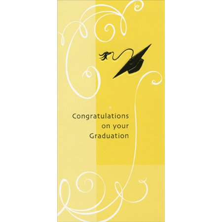 Freedom Greetings Embossed Cap on Yellow Background Graduation Money Holder (Yellow Graduation Cap)