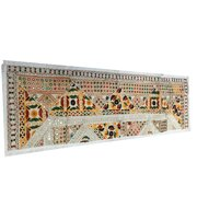 Mogul Vintage Flower Embroidery Table Runner Party Decor Ivory Table Throw Tapestry