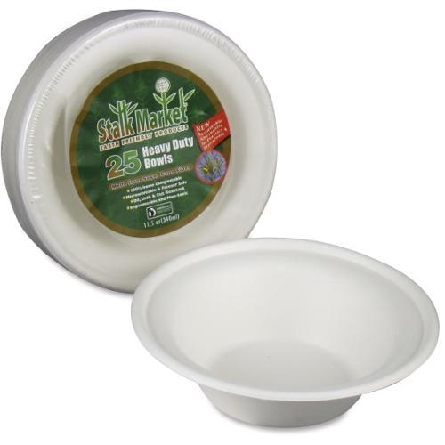 StalkMarket Sugarcane Fiber Disposable Bowls - 11.5 fl oz Bowl - Sugarcane Fiber - Disposable - Microwave Safe - 300 Pie