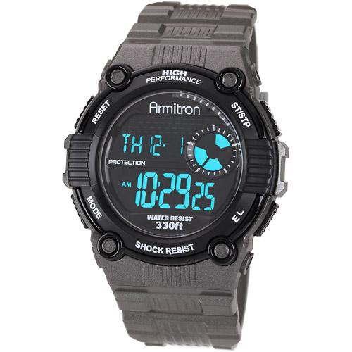 Armitron Men's Black Dial Chronograph Watch, Gray Resin Strap