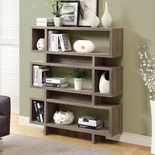 Monarch 55 in. Reclaimed-Look Modern Bookcase - Dark Taupe