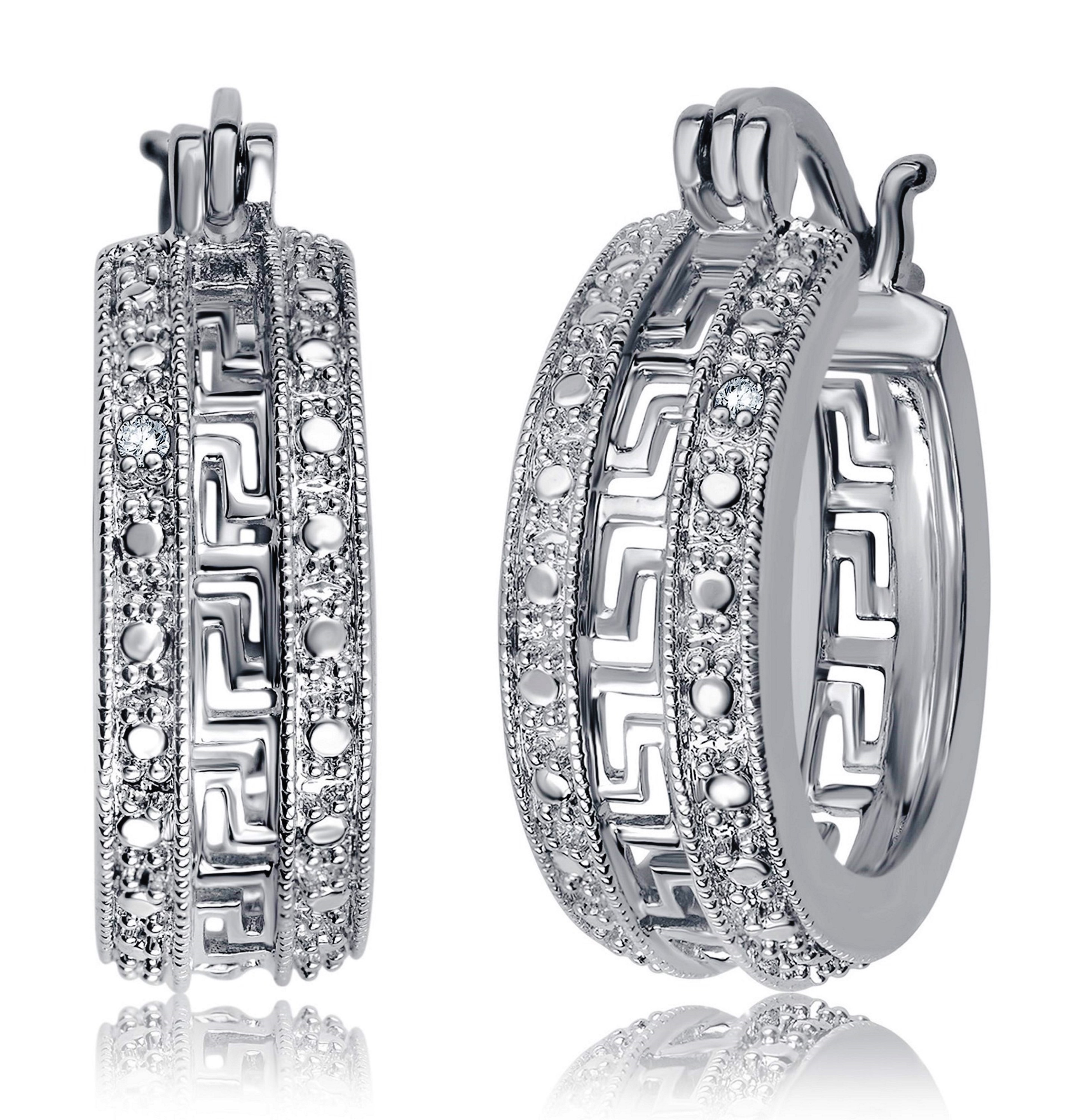 Genuine  0.02 Carat Natural Diamond Accent Greek Key Hoop Earrings  In 14K White Gold Plated
