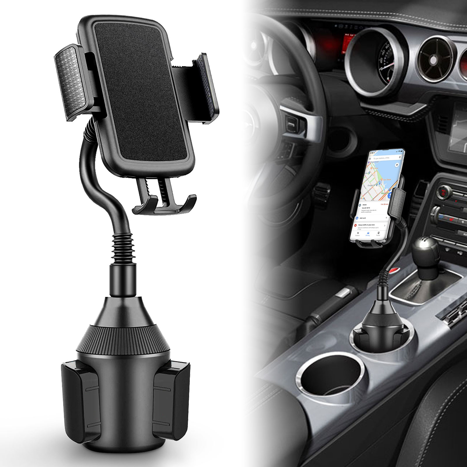 360 Degree Rotation Car Center Console Dual Cup Holder Car Cup Holder Expander for Car Vehicles Black