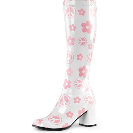 Womens White Boots Pink Flowers Peace Signs Go Go Boots Knee High 3 Inch Heels](Go Go Boots History)