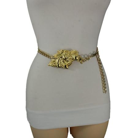 29f10321f655f Alwaystyle4you - Women Gold Metal Chains Fashion Belt Hip High Waist Horse  Buckle Regular - Walmart.com