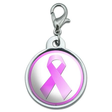 Breast Cancer Pink Ribbon Small Metal ID Pet Dog Tag Breast Cancer Dog Tag
