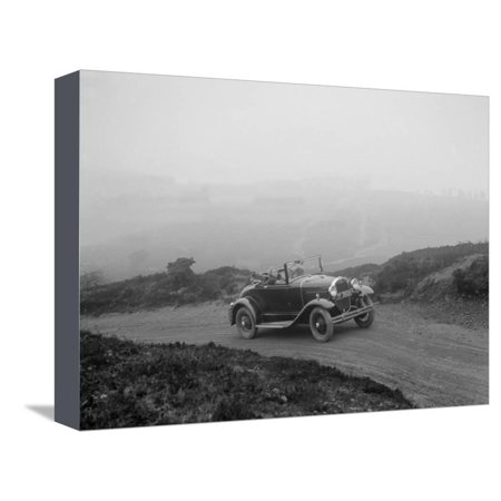 Kitty Brunell driving a 1930 2-seater Ford Model A, 1931 Stretched Canvas Print Wall Art By Bill