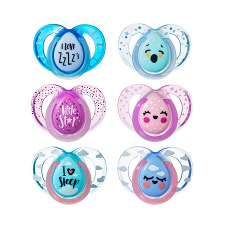 Tommee Tippee Closer to Nature Night Time Baby Pacifiers 6-18 months - 2 count (Colors May