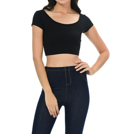 Patch Crop (Womens Trendy Solid Color Basic Scooped Neck and Back Crop Top Black Medium )