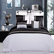 Astrid Embroidered 7-Piece Duvet Cover Set- Full/Queen - Black
