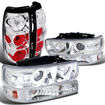 Chevy Silverado Chrome Dual Halo DRL Headlights+Bumper Lights+LED Tail (Dual Tail)