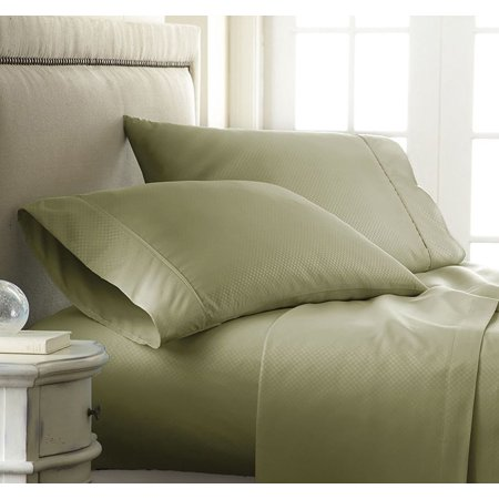 Silky Soft 1500 Thread Count 3 Piece Bed Sheet Set Checkered Square Pattern Wrinkle Free 100 Hypoallergenic Twin Sage