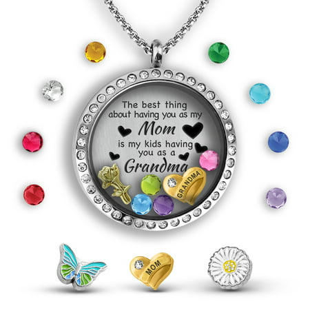 Personalized Mother Day Gifts (Grandma Gifts For Mothers Day For Mom From Daughter | Mother Daughter Necklace Floating Locket Necklace Grandma Jewelry Gift For Mom From Daughter - Best Gifts For Grandma Mom Necklaces)