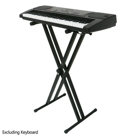 Keyboard Stand, Heavy-Duty Double-X Adjustable Electronic Piano Keyboard Stand with Locking Straps, Folding Sturdy Keyboard Stand w/6 Gears Adjustable Size, Variable Height and Width, Black, S8921