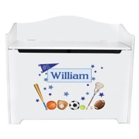 Boy's Personalized All Sports Toy Box Bench - White