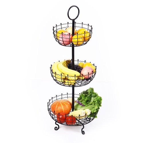 Adeco Trading 3 Tier Iron Table Counter Top Fruit and Vegetable Basket
