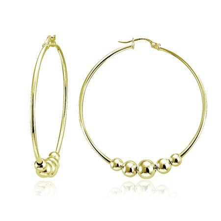 Gold Tone Beaded Hoop (Gold Tone Sterling Silver Beaded Round Hoop Earrings, 42mm )