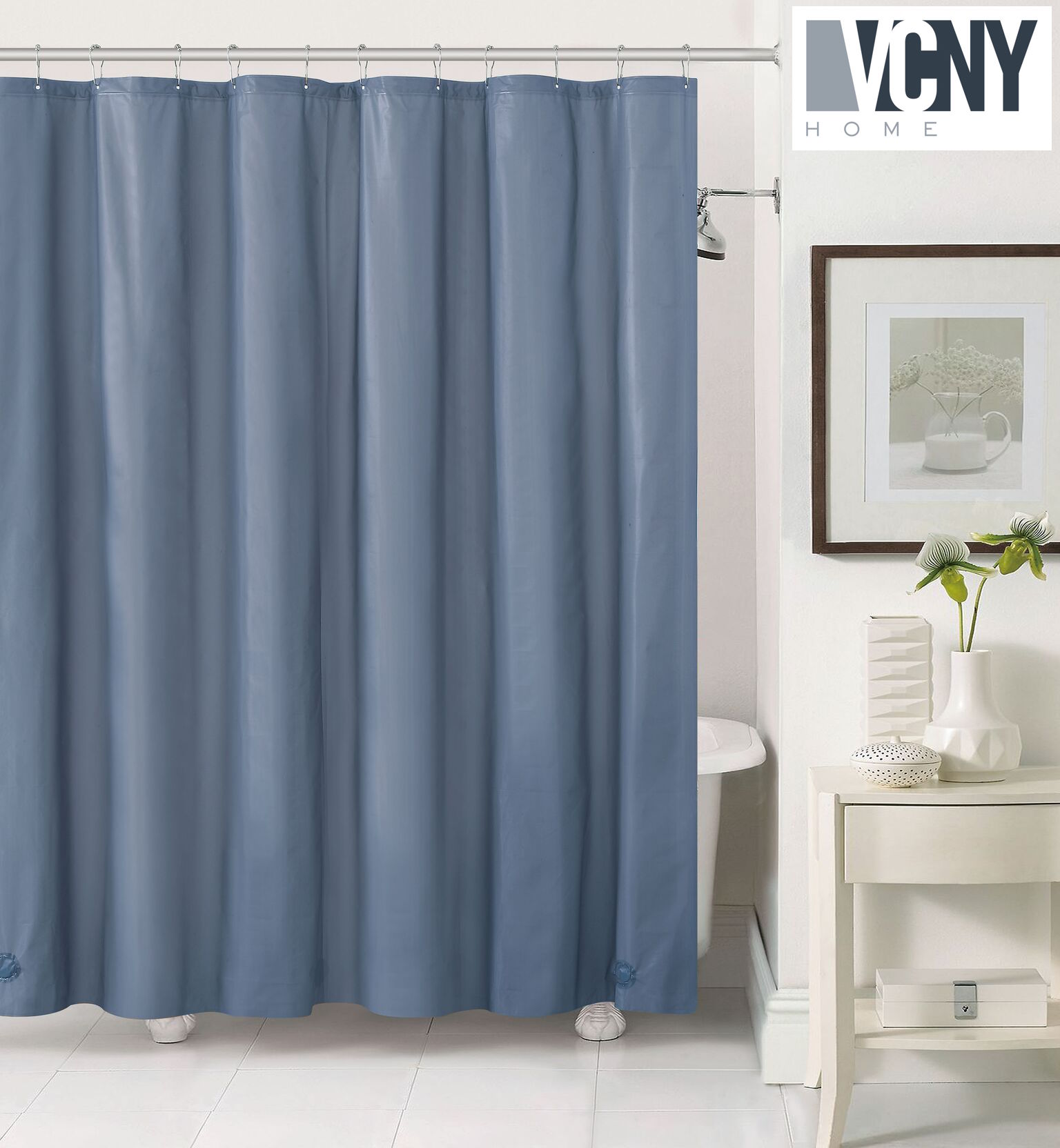 Peva Plastic Shower Curtain Liners With Magnets By Victoria Classics    Slate Blue