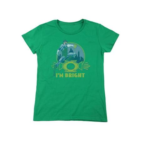 Green Lantern DC Com I'm Bright Power Stance City Scape Women's T-Shirt Tee