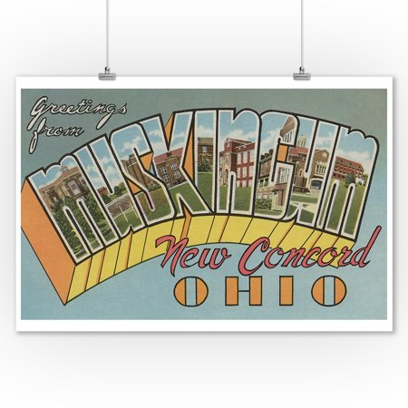 New Concord, Ohio - Muskingum County - Large Letter Scenes (9x12 Art Print, Wall Decor Travel Poster)