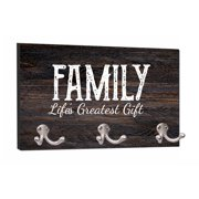 """Family..Greatest Gift - Wood Print - 8"""" by 16"""" Mountable Coat Hanger Rack Household Decoration with Three Double Silver Hooks"""