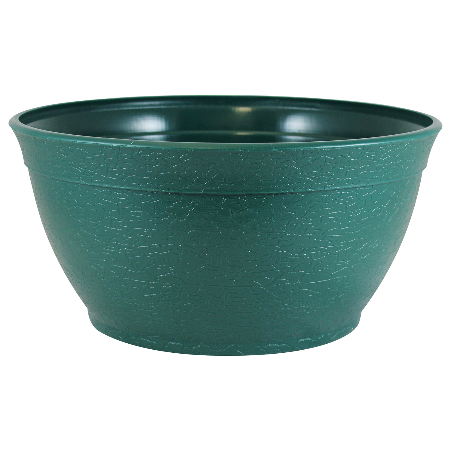 "Bloomers 14"" Porch Planter - Textured Flower Pot and Herb Garden - Hunter Green"