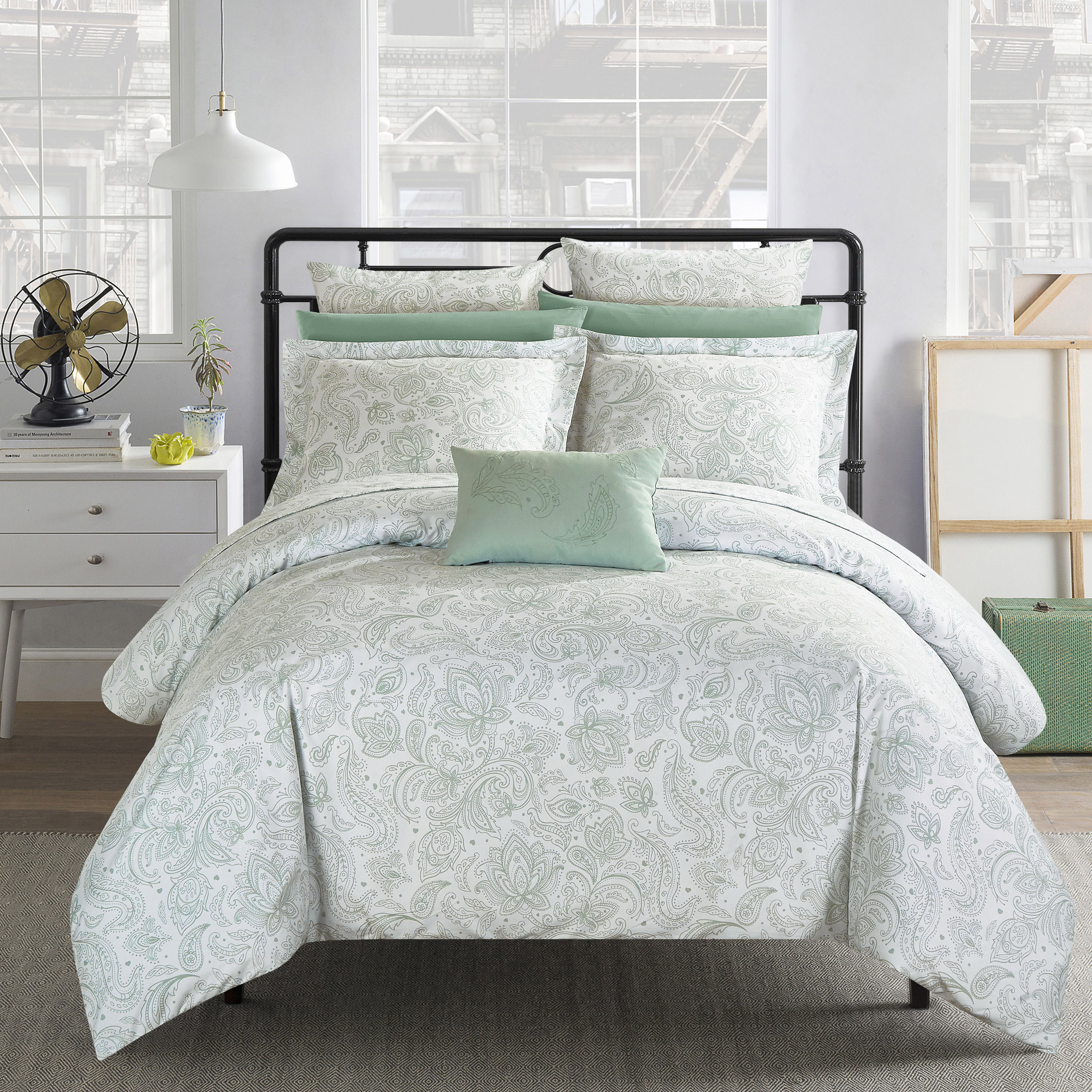 Chic Home 7-Piece Newark Park Super Soft Microfiber Vintage Paisley pattern Printed 2 tone Bed In a Bag Duvet Set Green with coordinating sheet and 2 bonus pillow cases.