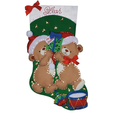 Teddy Bear Fun Stocking Felt Applique Kit, 18