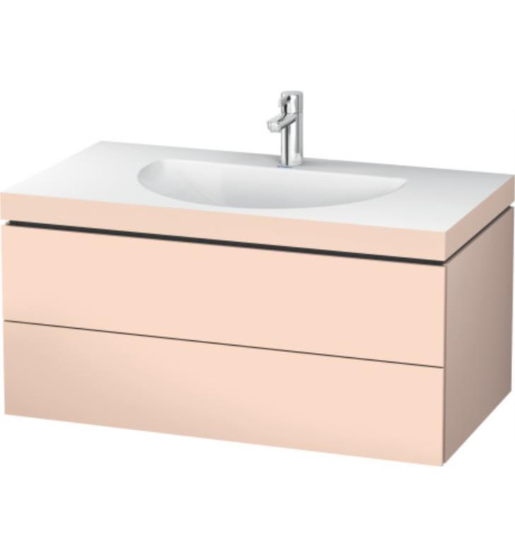 """Duravit LC6906T2020 L-Cube 39 3/8"""" Wall Mount Single Bathroom Vanity with C-bonded Furniture Washbasin and Two Drawers In Apricot Pearl Satin Matte, Three Tap Holes"""