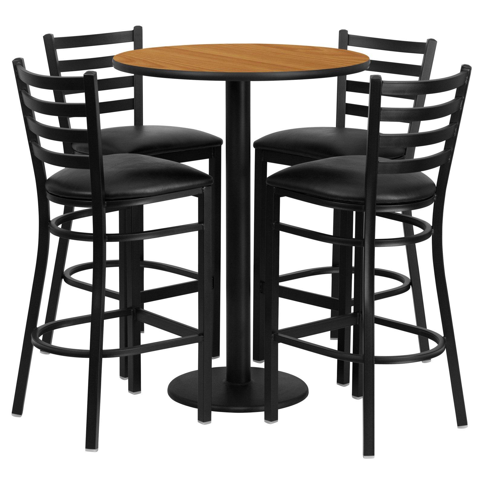 Flash Furniture 30'' Round Natural Laminate Table Set with 4 Ladder Back Metal Barstools, Black Vinyl Seat