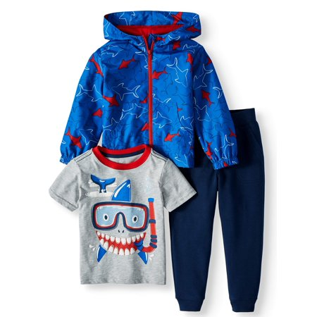 1920s Male Outfit (Toddler Boys' T-Shirt, Jogger Pants and Zip Up Lightweight Hooded Raincoat, 3-Piece Outfit)