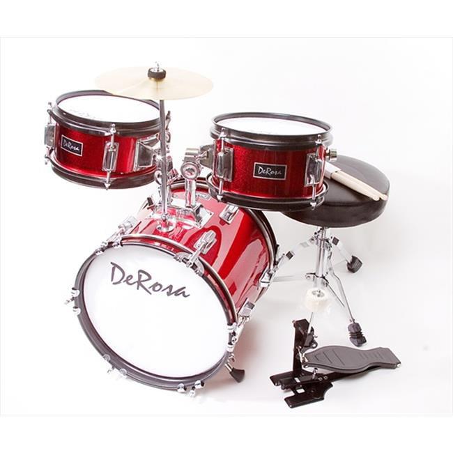 De Rosa Drm312 Rd 12 In Kids Children Drum Set In Red 3 Piece Set