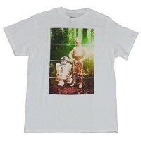 Star Wars Mens T-Shirt - R2-D2 C-3PO Bathed in Endor Forest Light