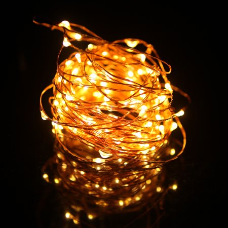 HDE LED String Lights Warm White [Flexible Copper Wire] Fairy Light Strand for Holiday Party Home Decoration College Dorm Room - Copper Decorations