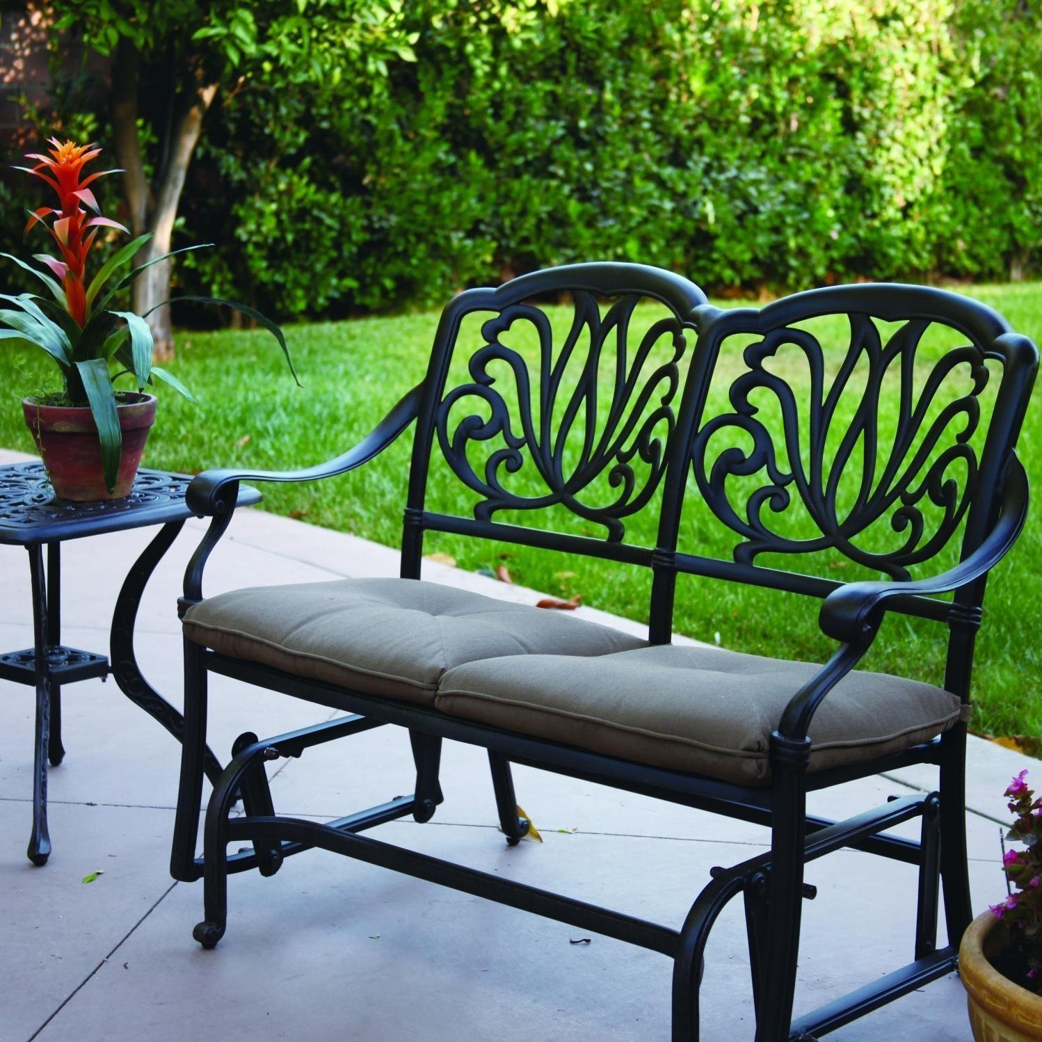 Elisabeth 2-person Cast Aluminum Patio Bench Glider Conve...