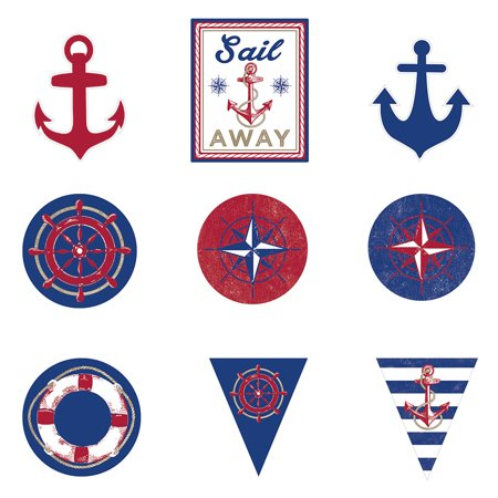 Nautical Themed Party Supplies (Nautical Cutouts (12 Pieces) - Party)