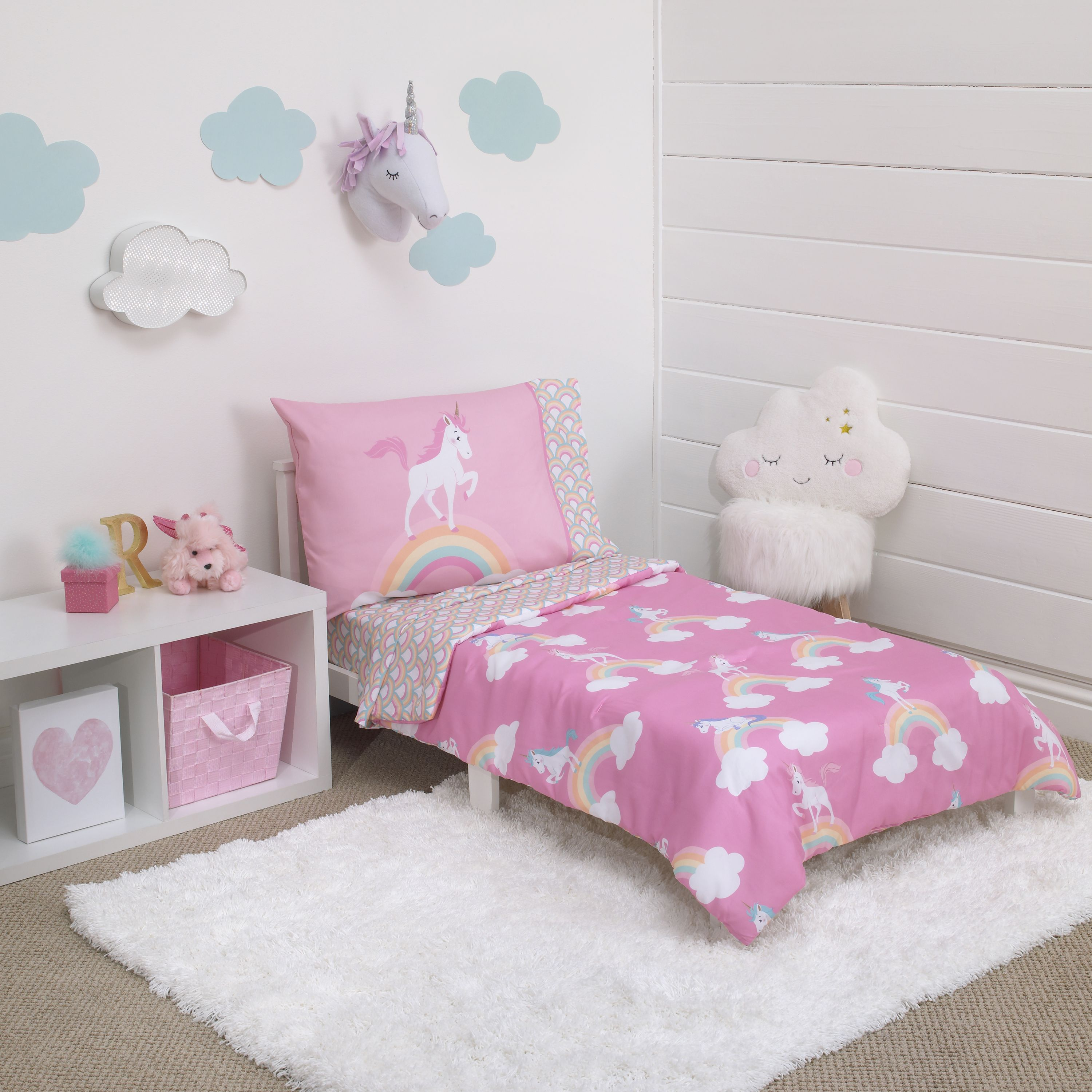 Little Tikes Rainbows & Unicorns 4 Piece Toddler Bedding Set, Pink and White