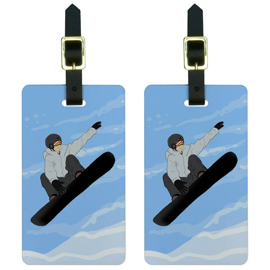 Snowboarder Jumping Snowboarding Snow Luggage Tags Suitcase ID, Set of 2 by Graphics and More